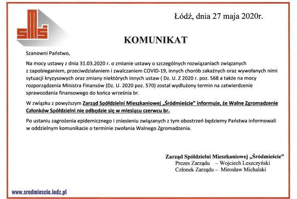 """Informacja wsprawie Walnego Zgromadzenia Członków SM """"Śródmieście"""" wŁodzi"""