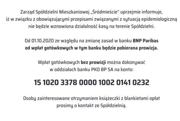 Informacja natemat numeru konta dowpłat bez prowizji bankowej